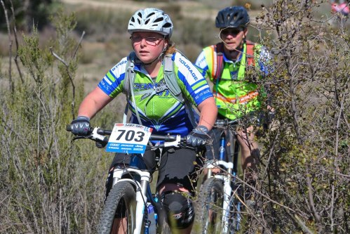 Reilly conquered many obstacles to complete her first mountain bike race!