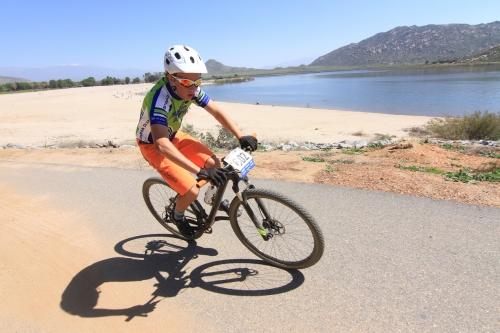 Caden kicks some asphalt along the bike paths of Lake Perris