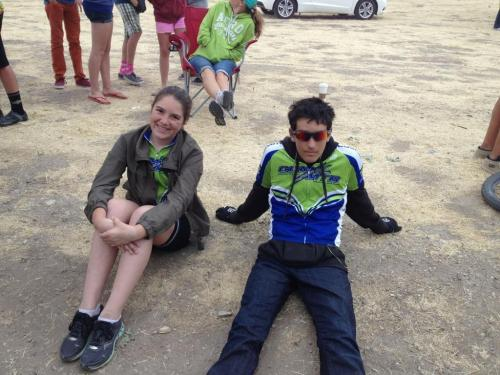 Bianca and Alex chilling before the race start